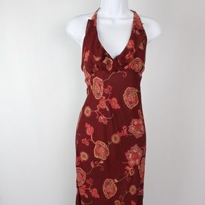 Rampage dark red floral halter dress midi ruffles